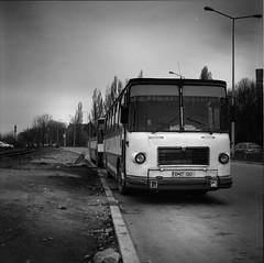 (B75 - Balkan Record) Tags: republica road bw bus film square flickr romania bucharest 120mm mamiyac330 ilforddelta100 homedevelop faur calber09