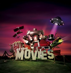 """At the Movies 2009"" (bryansclark) Tags: art robot 3d render cinema4d bryan clark popcorn movies spaceship lifechurchtv at"