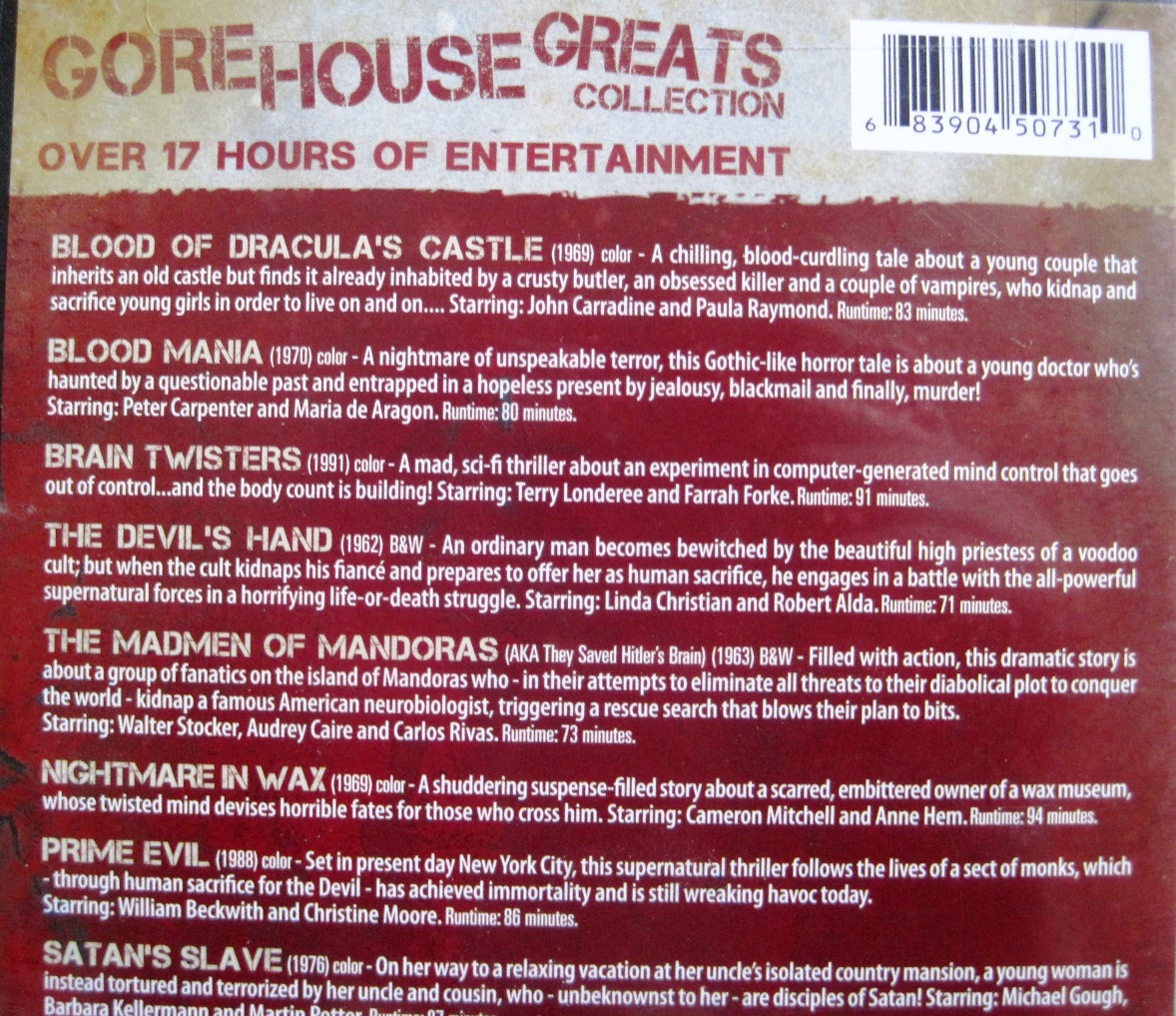12 Gore House Greats DVD back cover