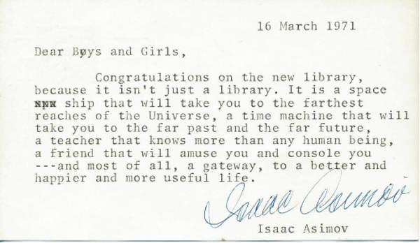 Carta de Isaac Asimov