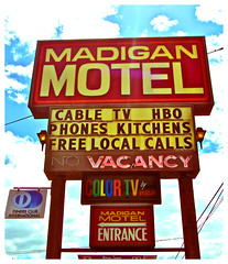 Madigan Motel sign () Tags: usa color sign club america photography washington tv discount cool interesting highway state pacific northwest image good united picture free motel cable retro nostalgia international vision photograph 99 sound nostalgic americana local states roadside googie weekly vacancy hbo diners puget rates calls midcentury deals madigan