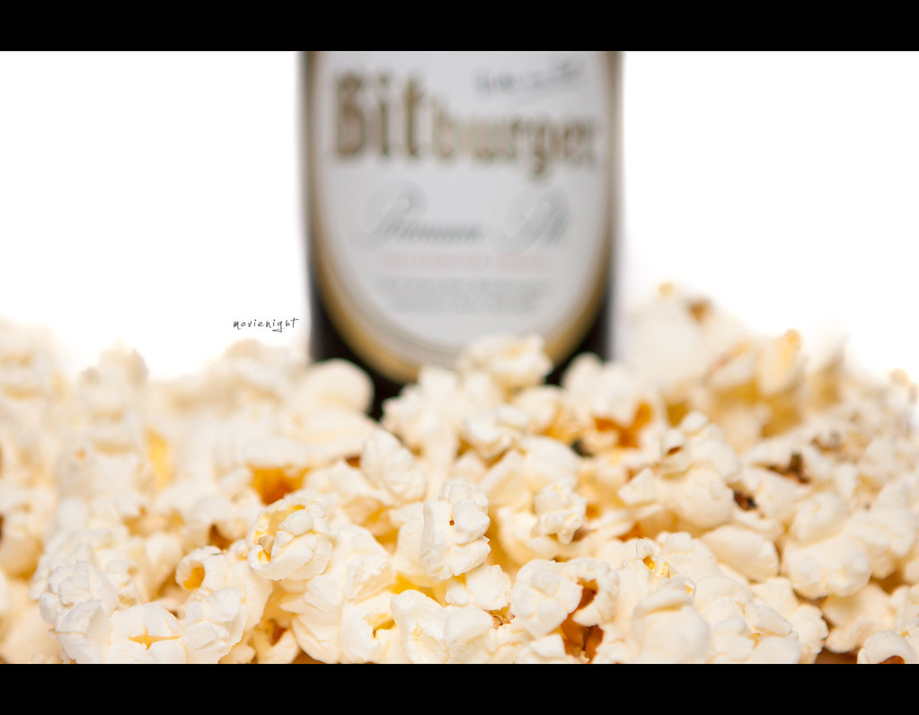 Project 365, Day 322, 322/365, bokeh, strobist, beer, popcorn, movies, Canon ef 24-70 f2.8,