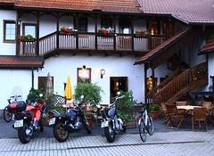 Come in!:) (:Linda:) Tags: bike germany pub village balcony thuringia motorbike parasol porch beergarden crock flowerbox woodenbalcony franconianporch