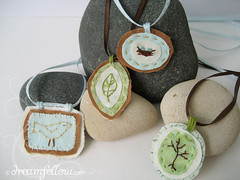 hand stitched necklaces (merwinglittle dear) Tags: blue brown tree green bird nature necklace leaf spring stitch nest handmade embroidery craft jewelry fabric ribbon