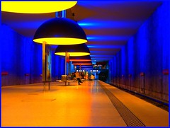 Munich Underground Station (PelGren) Tags: station train underground munich lights fdrtools wetraveltheworld ashotadayorso blueandbright