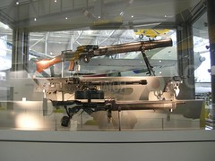 IWM Duxford 0017 - WWI - British - Lewis MG (Ground), Browning MG, Colt Pistol, Lewis MG (Air) (gberg2007) Tags: england wwi planes duxford airspace machinegun imperialwarmuseum iwm browningmachinegun lewismachinegun coltpistol