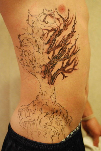 Sky's Tree Tattoo Shading 1st Pass. First reveal of Sky's shading.