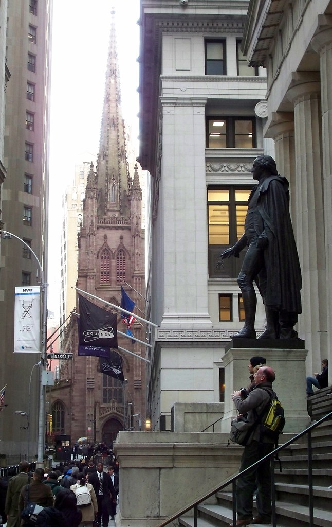 Upper Wall Street with Trinity Church and Federal Hall