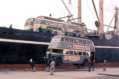 AEC Regent III 2172 being lifted onto the ship Wakasa Maru at Woolloomooloo, Sydney, Australia.