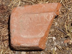 Byzantine Brick with markings (steven_and_haley_bach) Tags: brick byzantine mystras sixthday mistras greecevacation byzantineruins byzantinebrick