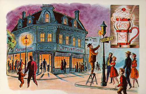 Disneyland Main Street Lamplighter Painting, 1955
