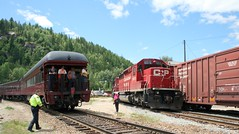 Castlegar Meet (arrowlakelass) Tags: train meeting empress cpr diesal castlegar 2816