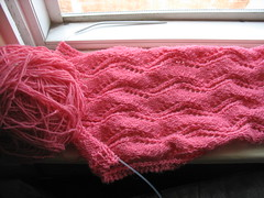 Lace Ribbon Scarf (jacqueline | weelittlestitches) Tags: scarf knitting knitty laceribbonscarf