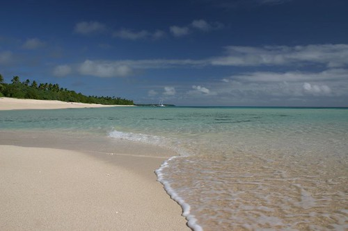 The beautiful beach at the Matafonua Lodge, Foa Island, Ha'apai, Tonga.