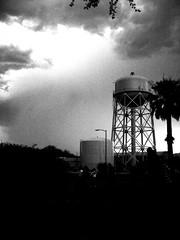 waiting for the rain (SkyRhino) Tags: blackandwhite storm clouds watertower