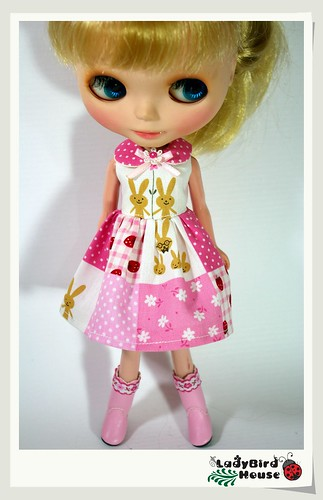 Blythe Outfit Pink Cute Dress by ladybird house.