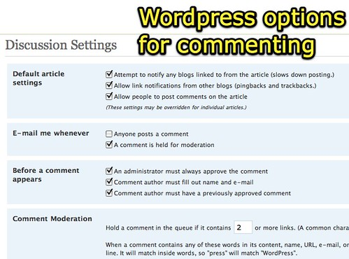 Wordpress options for commenting