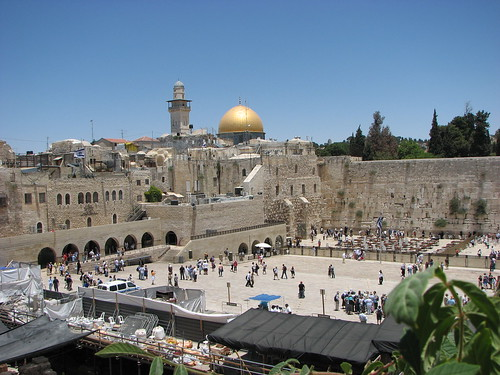 Jerusalem - the Wailing Wall with the Dome of the Rock in the Background by benyeuda.