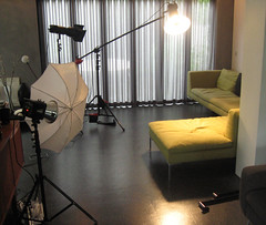 Lounge Setup (Photosmudger) Tags: lighting umbrella studio flash location boom setup behindthescenes brolly reflectors bowens alienbees pocketwizards beautydish strobist