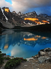 Sunrise Stripes (Surreal McCoy (Alvin Brown)) Tags: lake canada mountains sunrise alpine alberta banff morainelake mywinners anawesomeshot superaplus aplusphoto