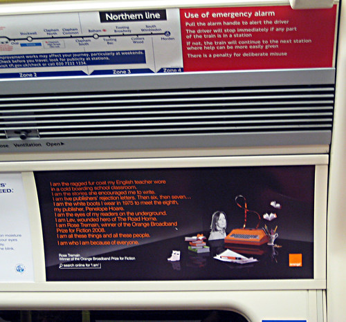 Rose Tremain Orange Ad on Northern Line