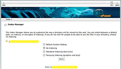 Turn off directory browsing in cPanel