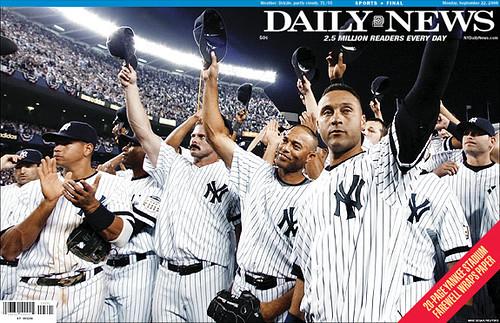 New York Daily News ~ Sept 21, 2008 ~ New York Yankees final game at Yankee Stadium, Bronx, New York