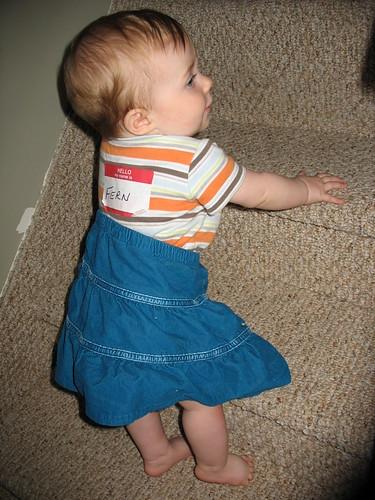 Fern climbing stairs