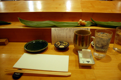 The Setup at the Sushi Counter