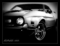 FADE (Stu Bo) Tags: light sunset blackandwhite classic ford car canon reflections photography evening 1971 classiccar shadows wheels saturday chrome mustang picnik musclecar blackwhitephotos 1971mustang photoartbloggroup