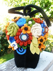 Finally finished (woolly  fabulous) Tags: flowers black wool leaves felted bag leaf recycled handmade felt purse thrifted