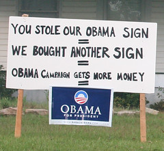 ginger's-obama-sign (ivy_windchaser) Tags: sign president prank obama pathetic sabotage