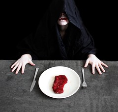 Carnophobia (JenniPenni) Tags: selfportrait scary blood hands raw fear plate meat meal phobia deadred theblacksheet carnophobia