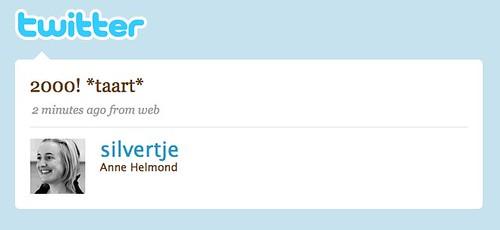 Twitter / Anne Helmond: 2000! *taart*