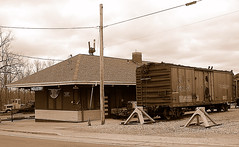 DSC_0001 (firephoto25) Tags: railroad newyork industry museum sepia train d50 nikon tracks rochester rush transportation depot lal