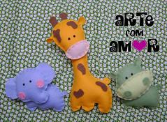 Bichinhos (    Arte com Amor    ) Tags: selva safari feltro bicho hipo leo girafa bichinhos elefante hipopotamo bichinho lembrancinha
