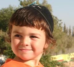 Raphael with his new kippa (Balabans2008) Tags: israel jerusalem daughter son jewish kippa upsherin orthodoxyarmulke