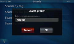 Search groups dialog