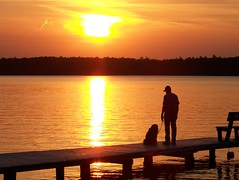 A man and his dog (visiblejoy) Tags: family sunset summer sun wisconsin solitude piers sillouette upnorth northern waterandsky mananddog lacduflambeau whitesandlake colorphotoaward annsullivan elitephotography orangereflection dillmanspoint visiblejoyphotography
