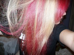 Half Red (Sirentrance) Tags: red girl hair blonde dye manicpanic