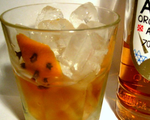spiced pear cachaca old fashioned