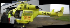 Stitched Air Ambulance.. (Mike-Lee) Tags: ambulance helicopter bbc paramedic leedsbradfordairport yaa yorkshireairambulance spivforflickr helicopterheroes