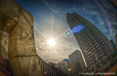 SF Burst (Silent G Photography) Tags: sanfrancisco california ca photography fisheye adobe baybridge embarcadero flare bayarea fishermanswharf sunburst norcal burst hdr highdynamicrange sunflare lightroom photomatix northencalifornia nikkor105mmf28fisheye highdynamicrangephotography nikond7000 markgvazdinskas silentgphotography