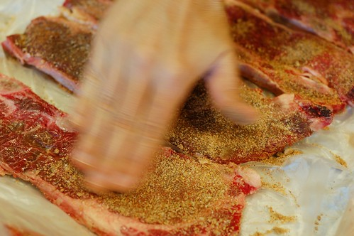 Rubbing spice mix onto the ribs by Eve Fox, Garden of Eating blog, copyright 2011