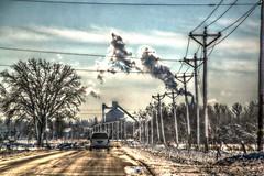 A_Winters_Blast_037 (Mark Stumme) Tags: road trees winter sky snow clouds effects nikon midwest factory bluesky iowa heartland how blizzard hdr inmotion breadbasket d600 middleamerica cornbelt nikond600 hdrscene luminancehdr darktable