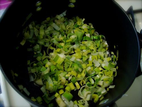 step 1 - cook leeks