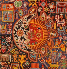 Huichol Sun and Moon (Teyacapan) Tags: city art mexico beads folk paintings ciudad yarn museums artes populares huichol