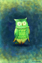 iPhone/iPod touch Wallpaper #019 (ATELIER302) Tags: blue wallpaper green kids illustration sweet owl lovely iphone japaneseartist degitalart ipodtouch iphonewallpaper