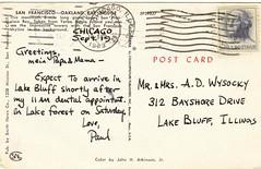 San Francisco-Oakland Bay Bridge (postcard, reverse side) circa 1963