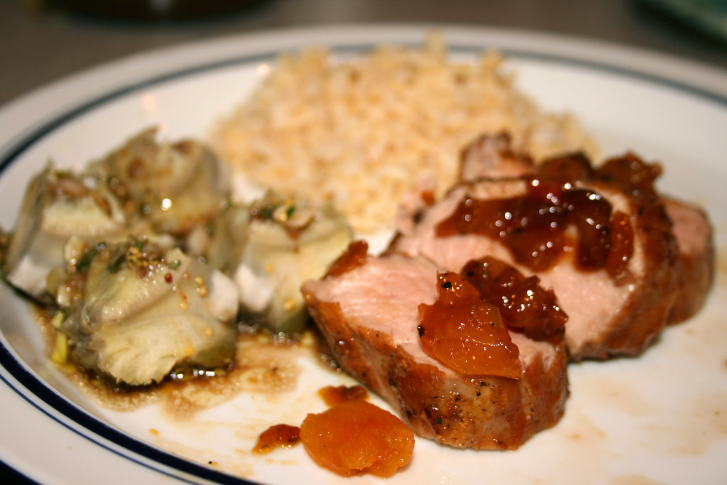 Pork Tenderloin and Steamed Artichokes